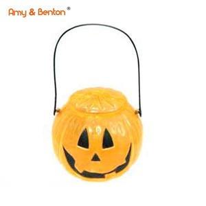 Hot sale kids plastic pumpkin candy basket for halloween