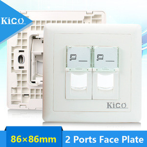 Kico 2 Port Type 86 Network Faceplate Wall Charger Outlet Power Supply Socket Keystone Jack Plate Panel RJ45 RJ11 Manufacturer