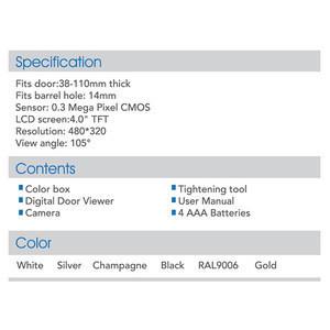 Most Popular 4.0 Inch TFT Indoor Screen Smart Digital Door Peephole Viewer