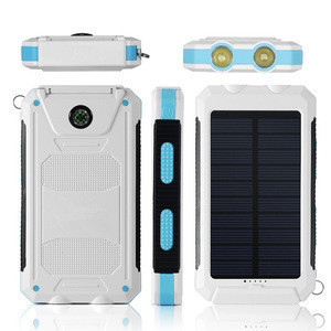 Orange Power Bank 10000Mah,Mobile Solar Charger Cell Phone,Solar Power Bank Charger With two  Led Light and Compass Outdoor