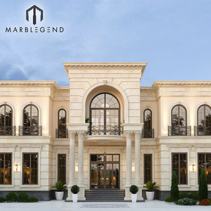 Outdoor building facade exterior natural cream limestone wall cladding
