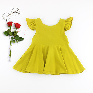 Pure Yellow Nightwear Summer Custom Design Solid Printed Flutter Sleeve Big Bow At Back Dresses