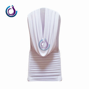 White Ruched Swag Back Spandex Banquet Swag Back draped/ ruffled Valance Chair Covers