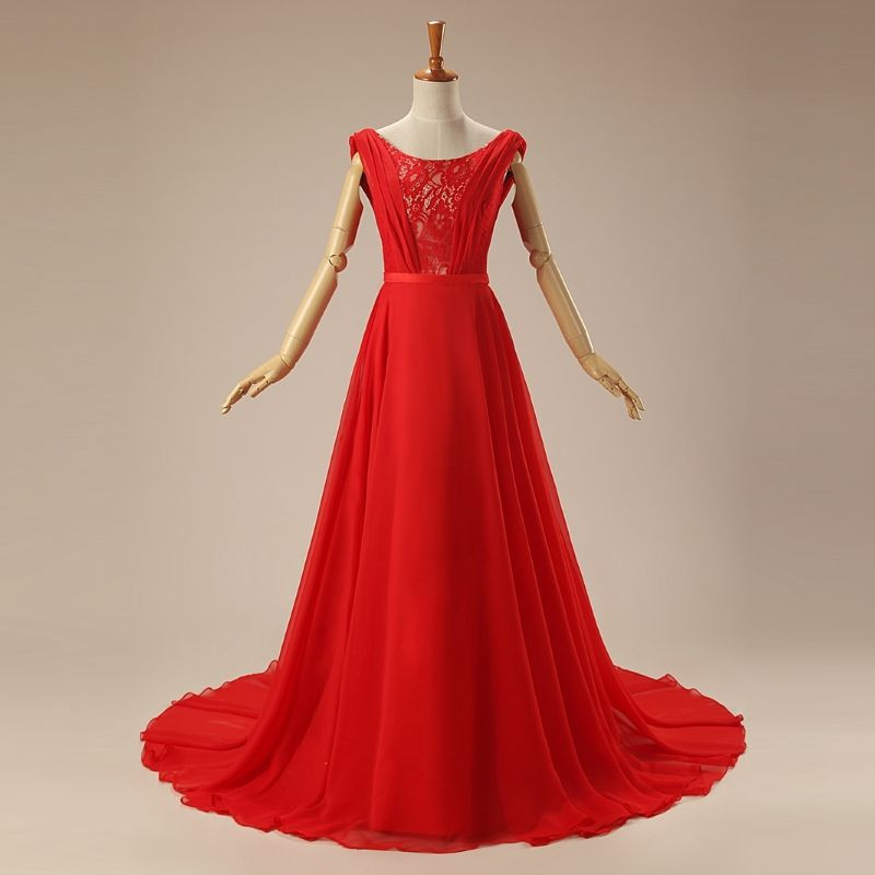 Elegant Lace Sleeveless scoop A line Red Evening bride gown