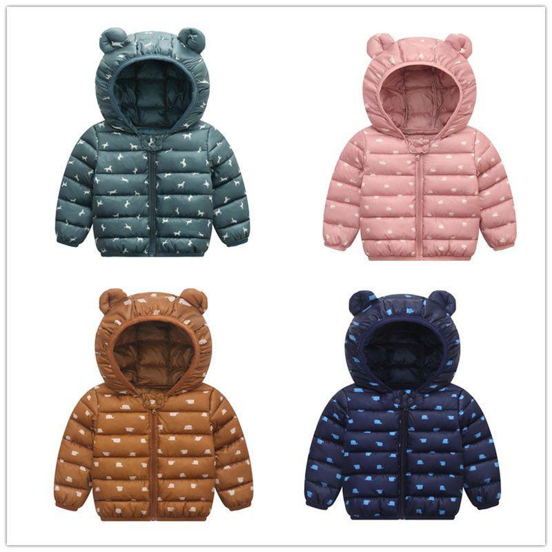 Kid Down Coats Infant Snow Wear Hooded Coats Baby Girls Boys Cartoon Print Jackets Autumn Winter Warm Outerwear Children Clothes