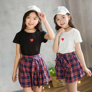2019 Girls summer Short Sleeve Set kids T shirt and Skirt 2 pieces sets childrens clothing sets top and skirts outfits