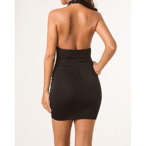 2020 Sexy backless halter neck transparent bodycon night club sequence mini dress for women