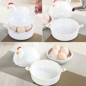 4 Eggs Kitchen Gadget Tools Chicken Shape Microwave Egg Boiler
