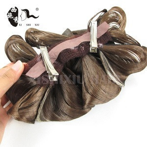 Best quality and price flower curly hair bun extension hair dome hair chignon