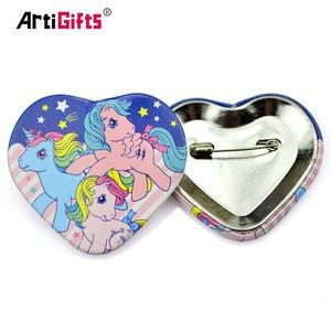 Custom heart shaped safty pin back advertising blank tin button badge wholesale