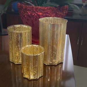 Gold  glass candle holder luxury candle jars centre de table mariage unique candle jars