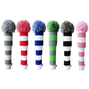 Hot selling acrylic knitted pattern golf club head cover