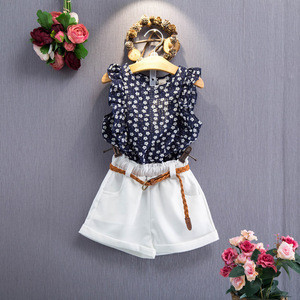 Korea Girls Floral Sleeveless with Belt childrens baby girl summer clothing T-shirt Shorts Sets