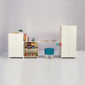 Modular Clothes Cabinet and Book Cabinet with Study Kid Set
