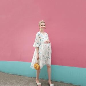 Short Sleeve Empire Waist Wholesale Maxi Nursing Maternity Clothing Dress