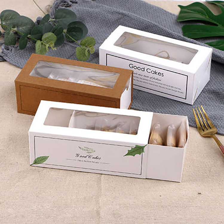 Wholesale Folded Art Paper Box Rectangle Shape Custom Design Cookie Packaging Box With Window