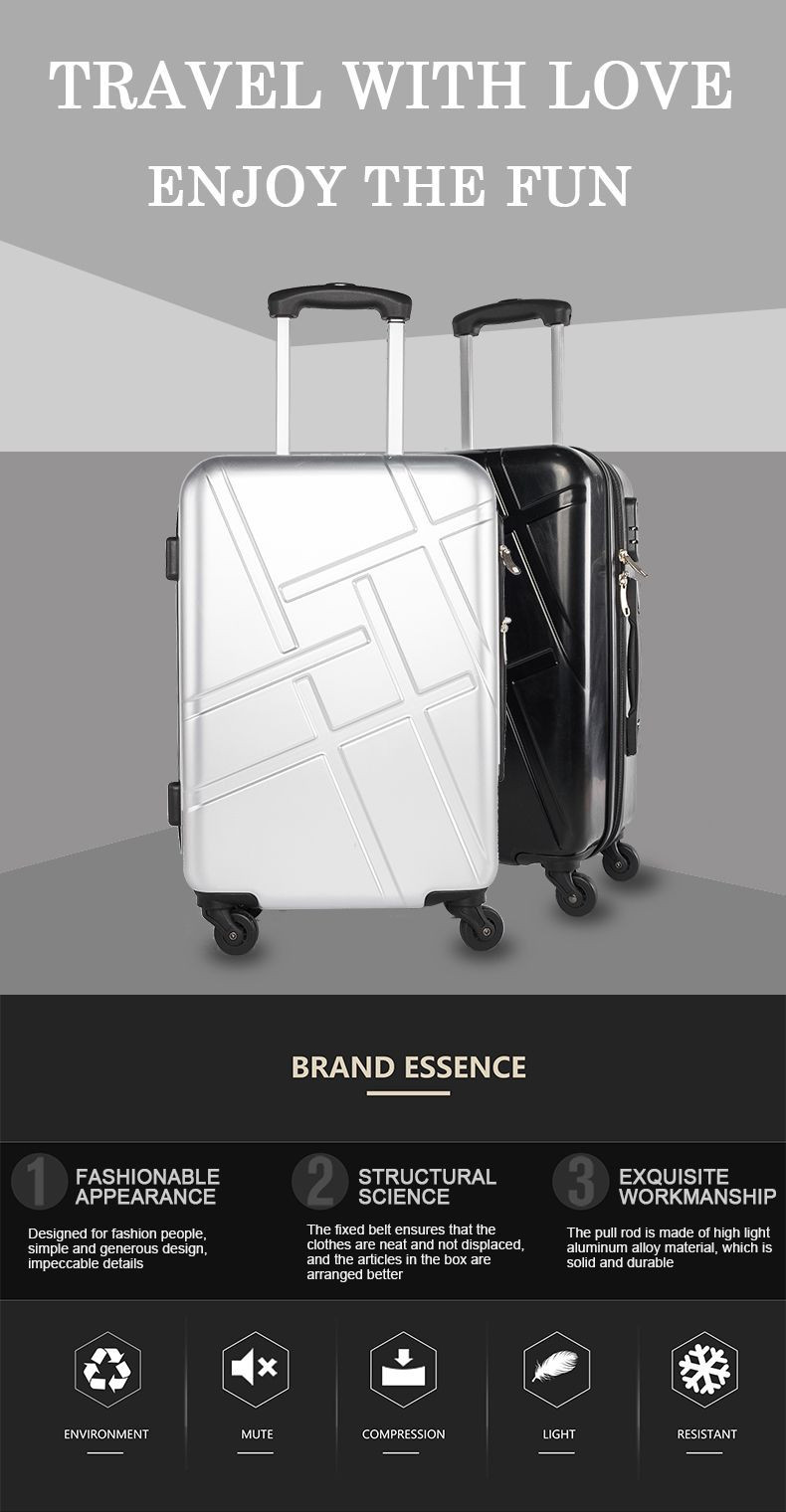 Travelling bags custom high quality abs 360 degree suitcase hard shell luggage sets