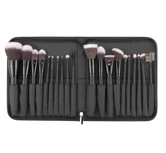20pcs Vegan Makeup Cosmetic Brush Set with Folding Zipper Pouch
