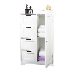 4 drawer luxury bathroom cabinet with two tier towel shelf