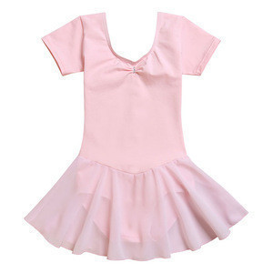 Bebechat wholesale children ballet costumes gymnastics ballet dress cotton/spandex girls dance wear (short sleeve skirted dress)
