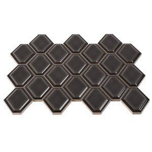 Cheap Hexagon Glazed Tile Mosaic, Brown Ceramic Mosaic for Decoration