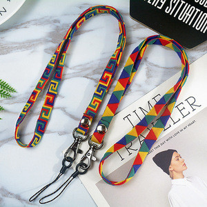 Custom Logo Printing Sublimation Woven Lanyard  For Phone