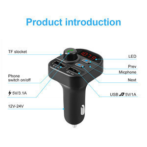 Dual USB Charger Hands-Free Car Kit Wireless Radio Audio Adapter 5.0 Bluetooth FM Transmitter Car MP3 Player
