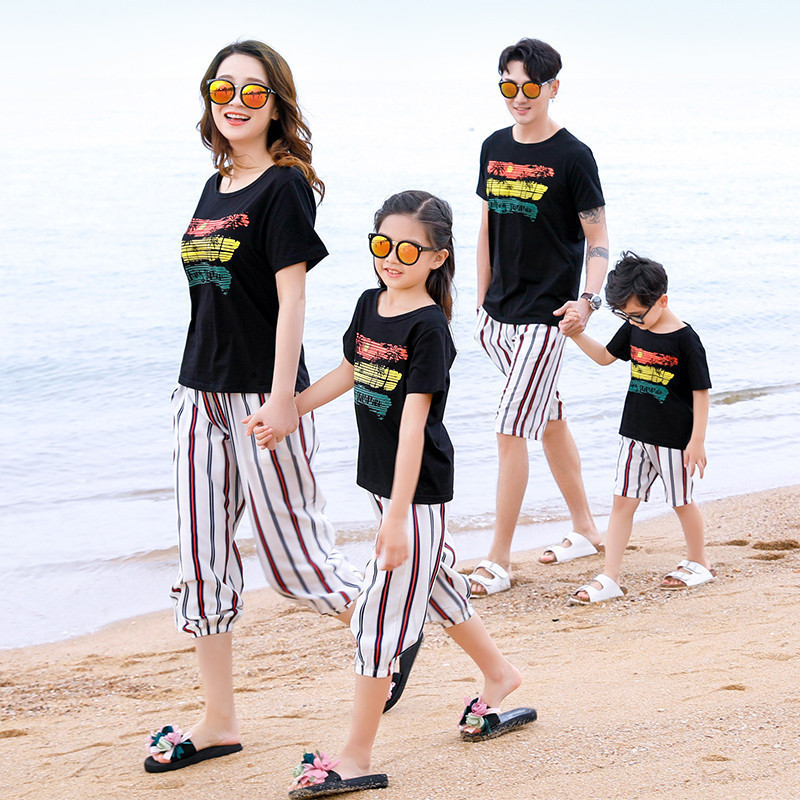 Family Matching Cotton Outfit T shirt+Shorts 2pcs Clothes Sets Casual Family Parent-Child Clothing