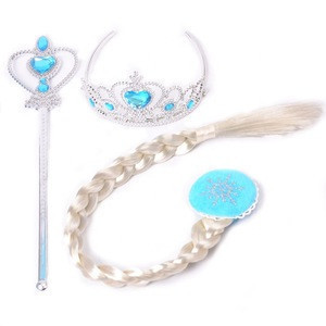 Hot Sell Frozen Elsa Anna Princess Dress Up Halloween Cosplay Costume With Princess Crown Wand