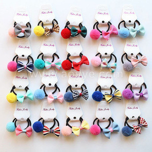 Korean children hair ball bowknot lovely hair ring hair noose outfit foreign trade hand small button baby headwear
