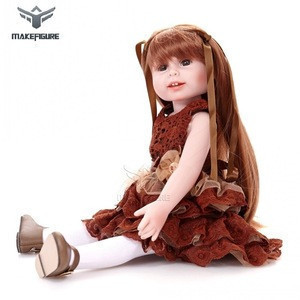 Long hair dress up vinyl 18inch  baby doll for kids, hotsale stand up 45cm blond hair bady doll toy with clothing and hair