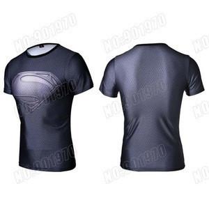 Marvel Captain America 2 Super Hero lycra compression tights sport T shirt Men fitness clothing short sleeves T shirt