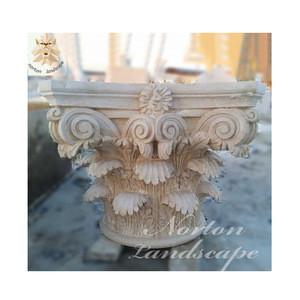 Modern home decoration use red marble gate pillar capital design stone column head for garden NTMF-CP089X