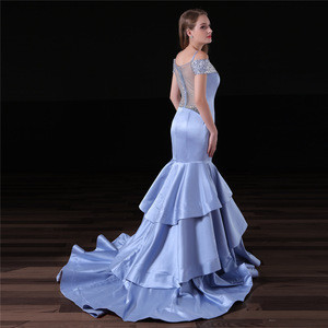 Satin Trumpet Spaghetti V-neck Beaded Evening Dress Party Dress Prom Gowns Zipper Back Style With Puffy Skirt Long Dress