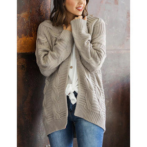 Wholesale Low Price Autumn Long Sleeve Women Lady Knitted Cardigan Sweater