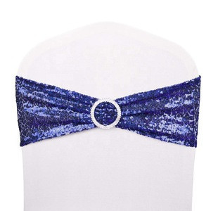 Wholesale Stretch blue Sequin Chair Sashes Chair Bands for Hotel Wedding Party Chair Cover Decoration with buckle