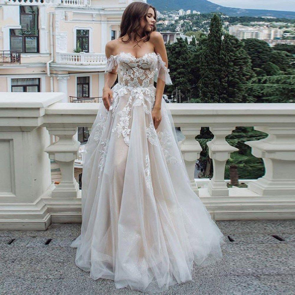 free shipping Sexy See Through Lace Wedding Dress 2020 A-Line Wedding Gowns Elegant Ruffle Cap Sleeve Vestido De Noiva