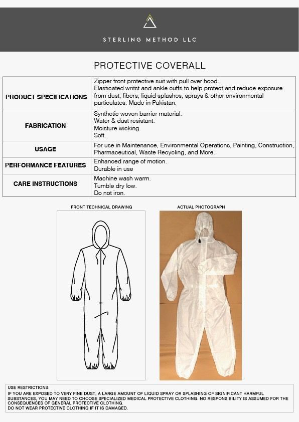Multi-Use Protective Coveralls (PPE)