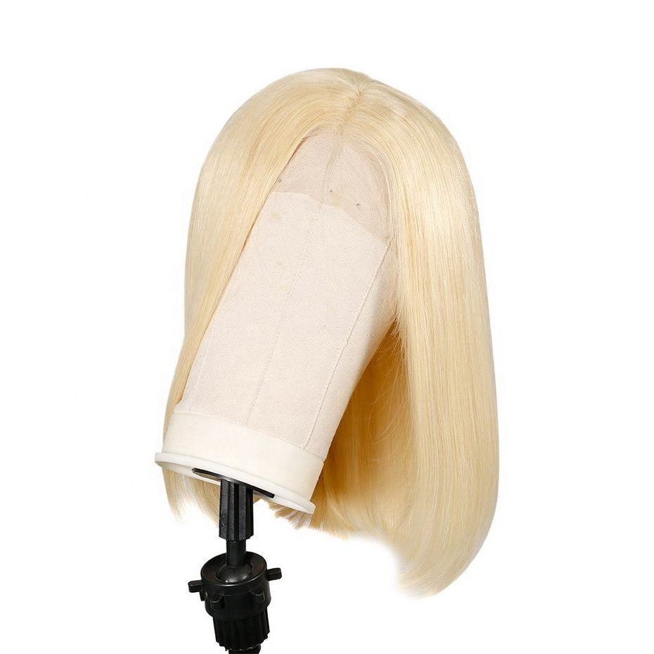 Platinum Blonde 613 pre plucked Short Bob Cut Lace Front Wig Silk Straight 100% Virgin Human Hair Lace Frontal Wig  Transparent/HD/Brown With Swiss Lace Cuticle Aligned Hair Wigs
