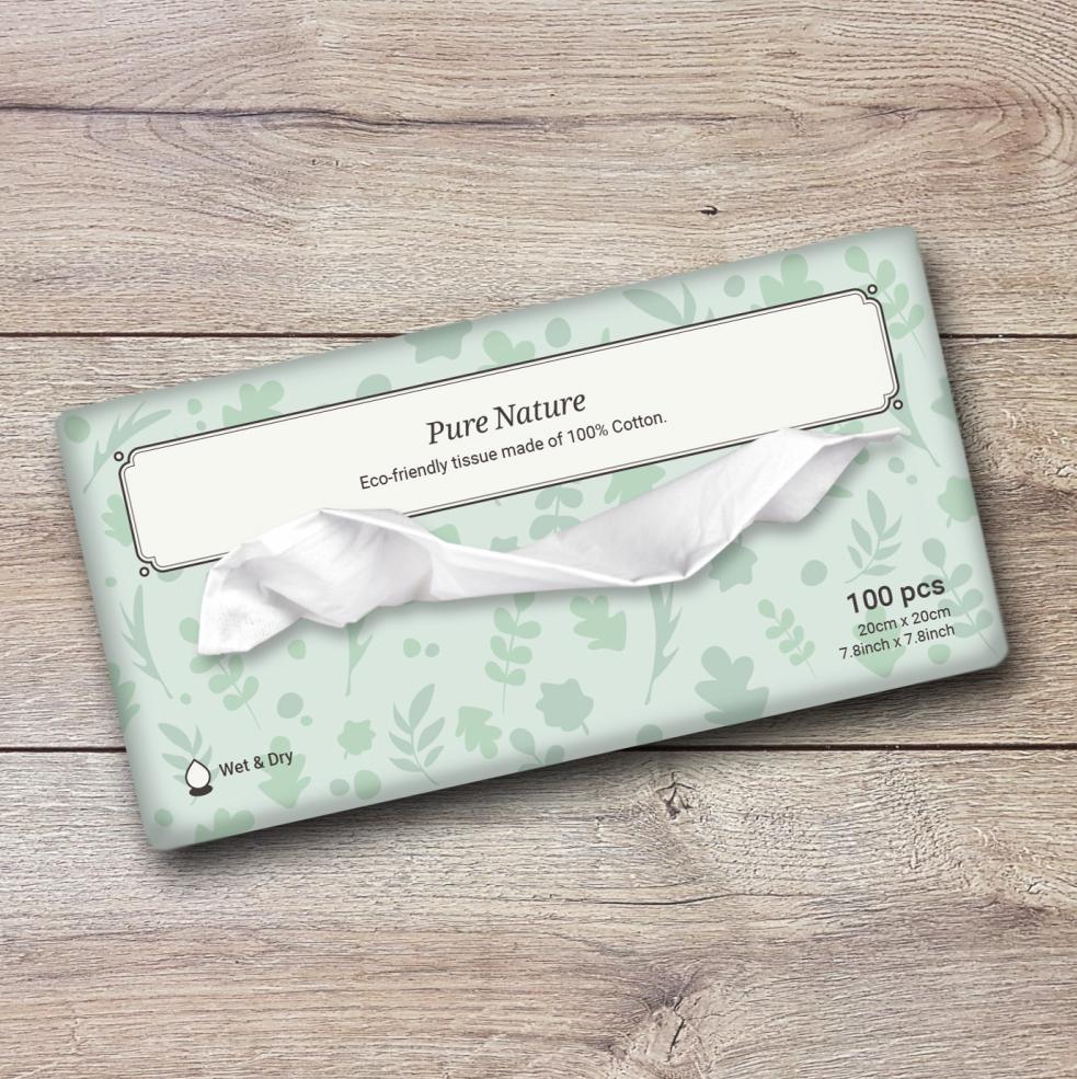 100% Cotton Tissue/Wipe-Biodegradable