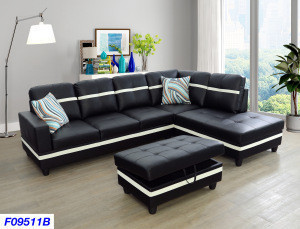 3-Pieces Sectional Sofa Set with Ottoman and 2 Square Pillows, Right Facing Chaises,Faux Leather, Multiple Colors Available