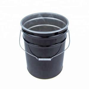 5 Gallon Black Anti-rust Plastic Lining Paint Pails Steel Drums with Flower lid China Manufacturer