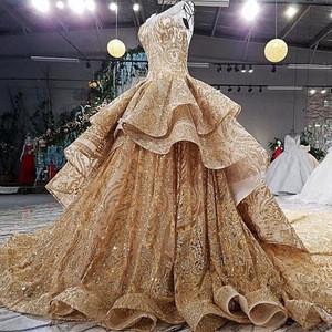 Backlakegirls 4780 Elegant Gold Wedding Dresses With Sequins Ball Gown Arabic Luxurious Wedding Gowns dress2018 Robe