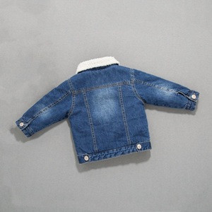 D&S factory dropshipping vintage blue sherpa fleece baby jacket winter children denim jacket