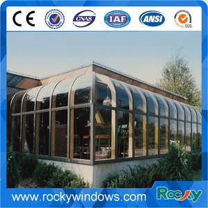 European style aluminium curved glass lowes Sunrooms