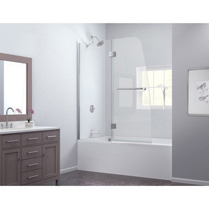 N645 High Quality 48 in. Frameless Hinged Tub Door/Shower Screen Door, Clear 1/4 in. Glass Door, Chrome Finish