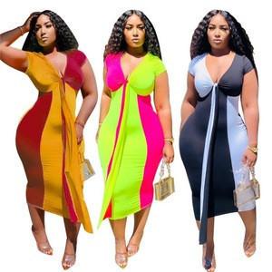 PH-20616 Patchwork Summer 2020 Womens Clothes Women Dresses Summer Sun Dress For Women