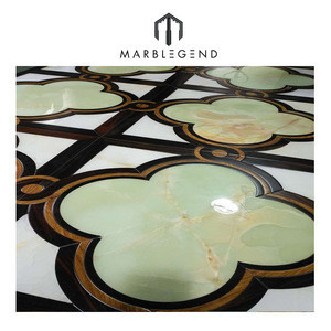 Polished Surface White Marble Inlay Wood Parquet Flooring