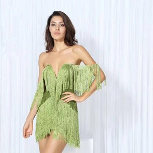 Red Rayon Women Party Wear Off Shoulder Bandage Dress With Fringe C1001
