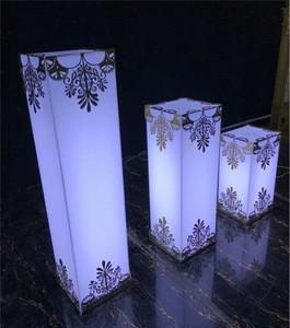 White  Acrylic Plinth Display Acrylic Pedestal Flower Stand Wedding Decoration Pillar With Led light &  flower pattern